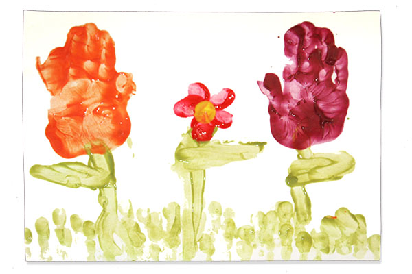 Finger paint flowers